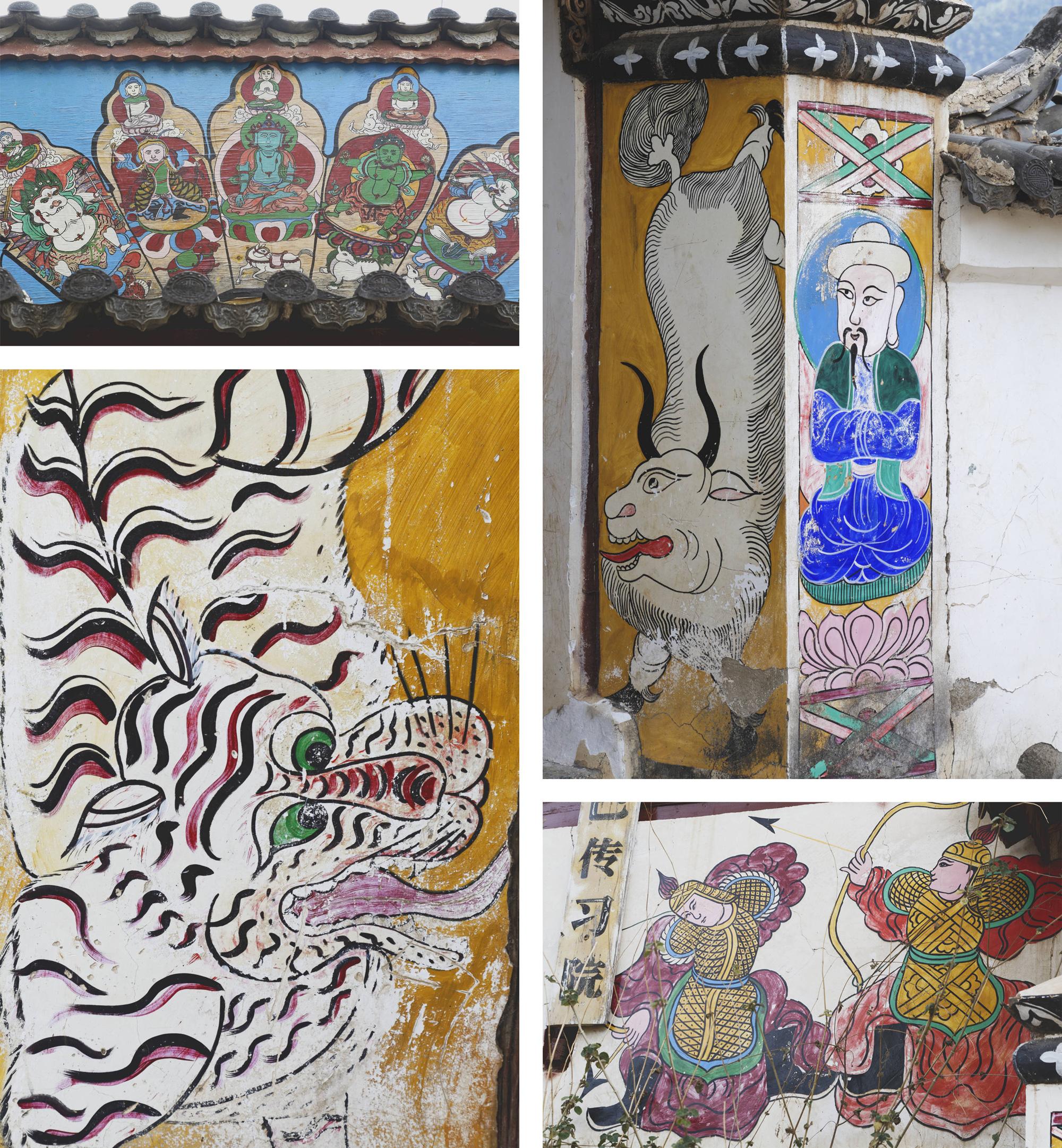 Peintures murales dongbas, village de Wumu