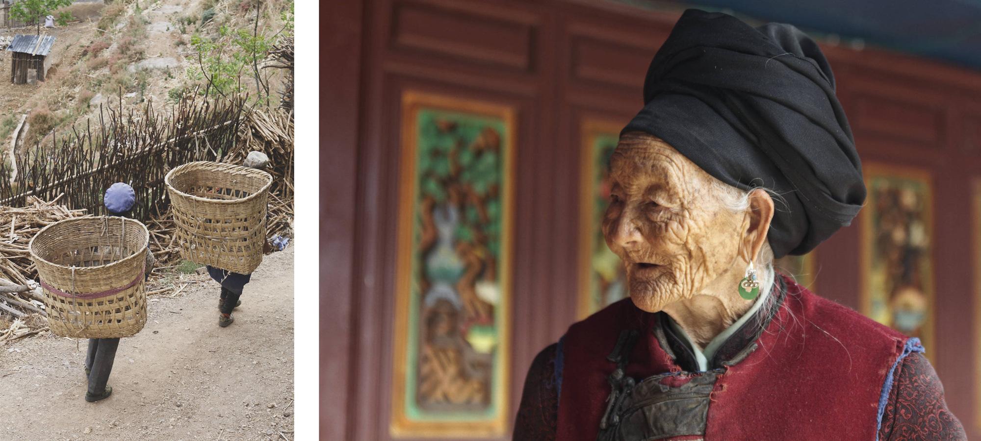 Retour des champs et vieille dame naxi