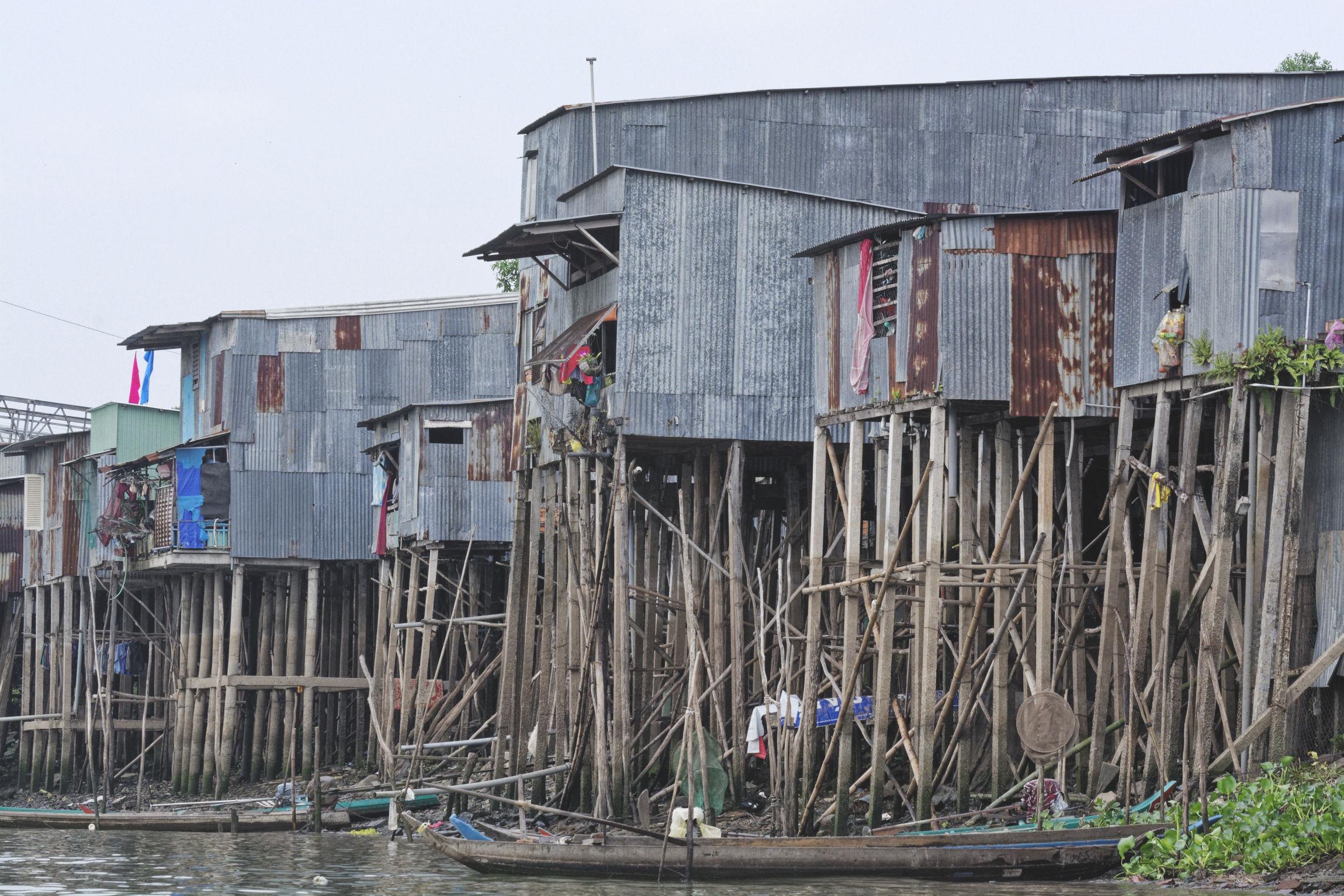 Delta du Mékong habitations sur pilotis