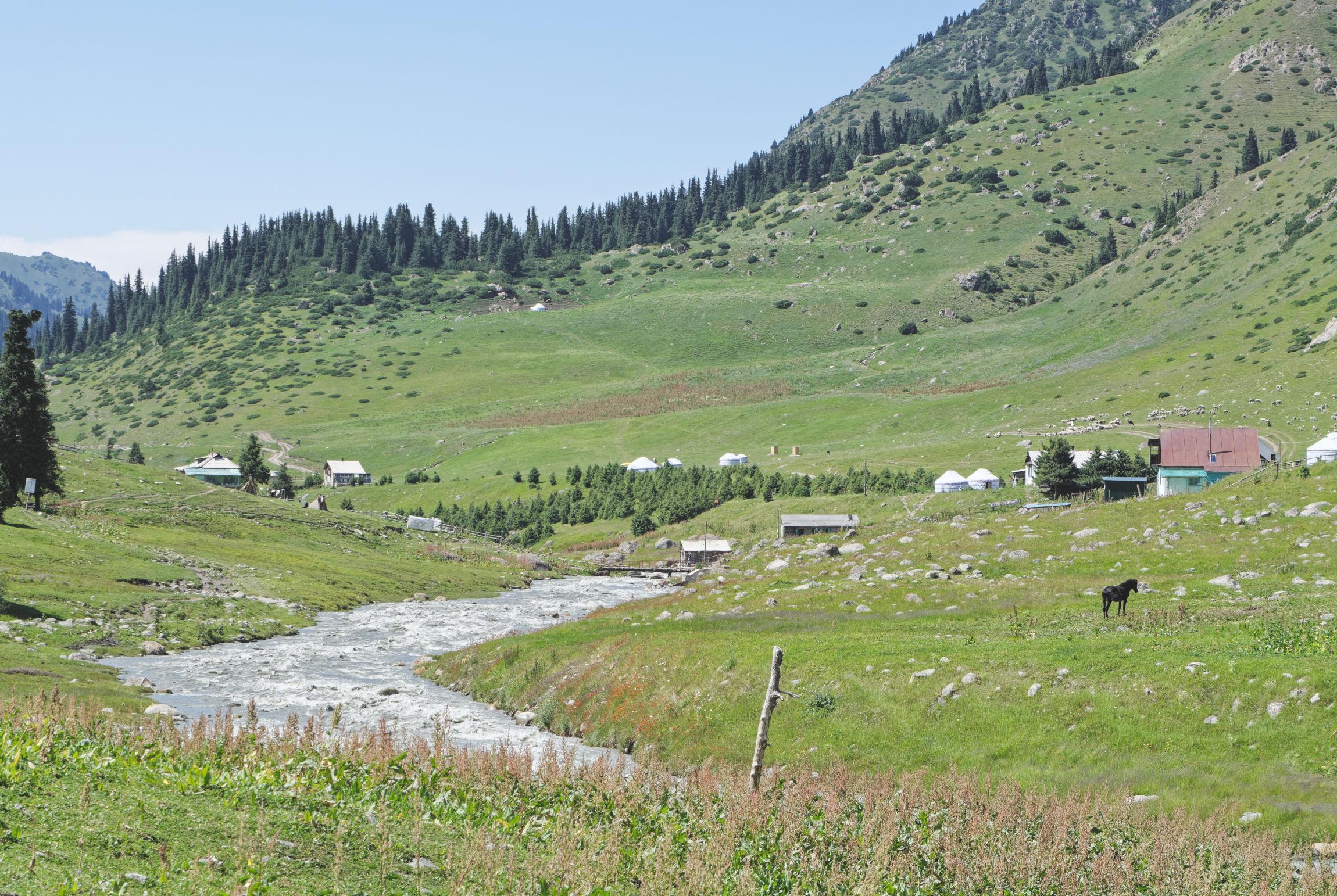 Altyn Arashan Kirghizstan, cheval et maisons