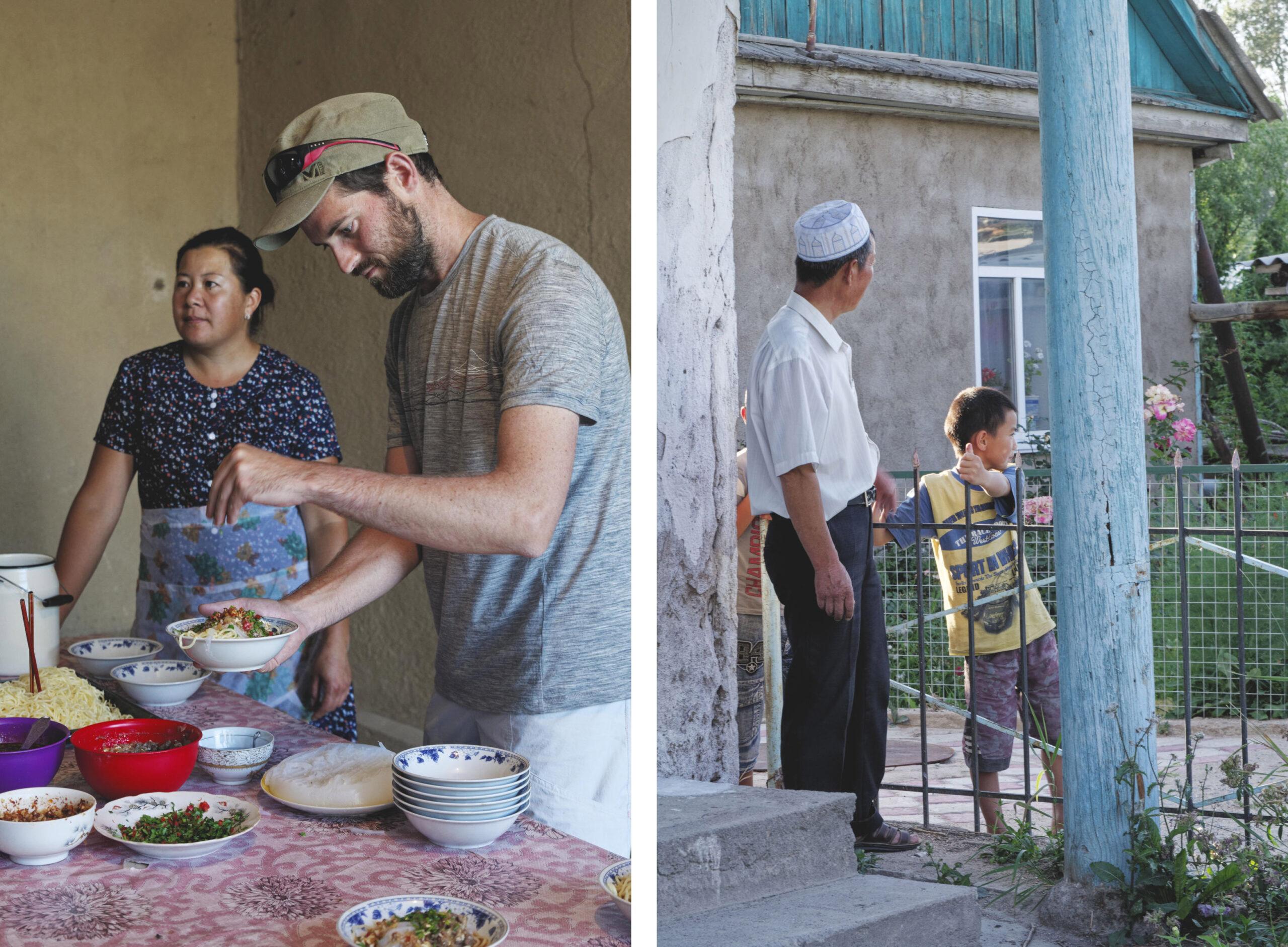 Cours de cuisine ashlan-fu, village d'Yrdyk, hommes et enfants