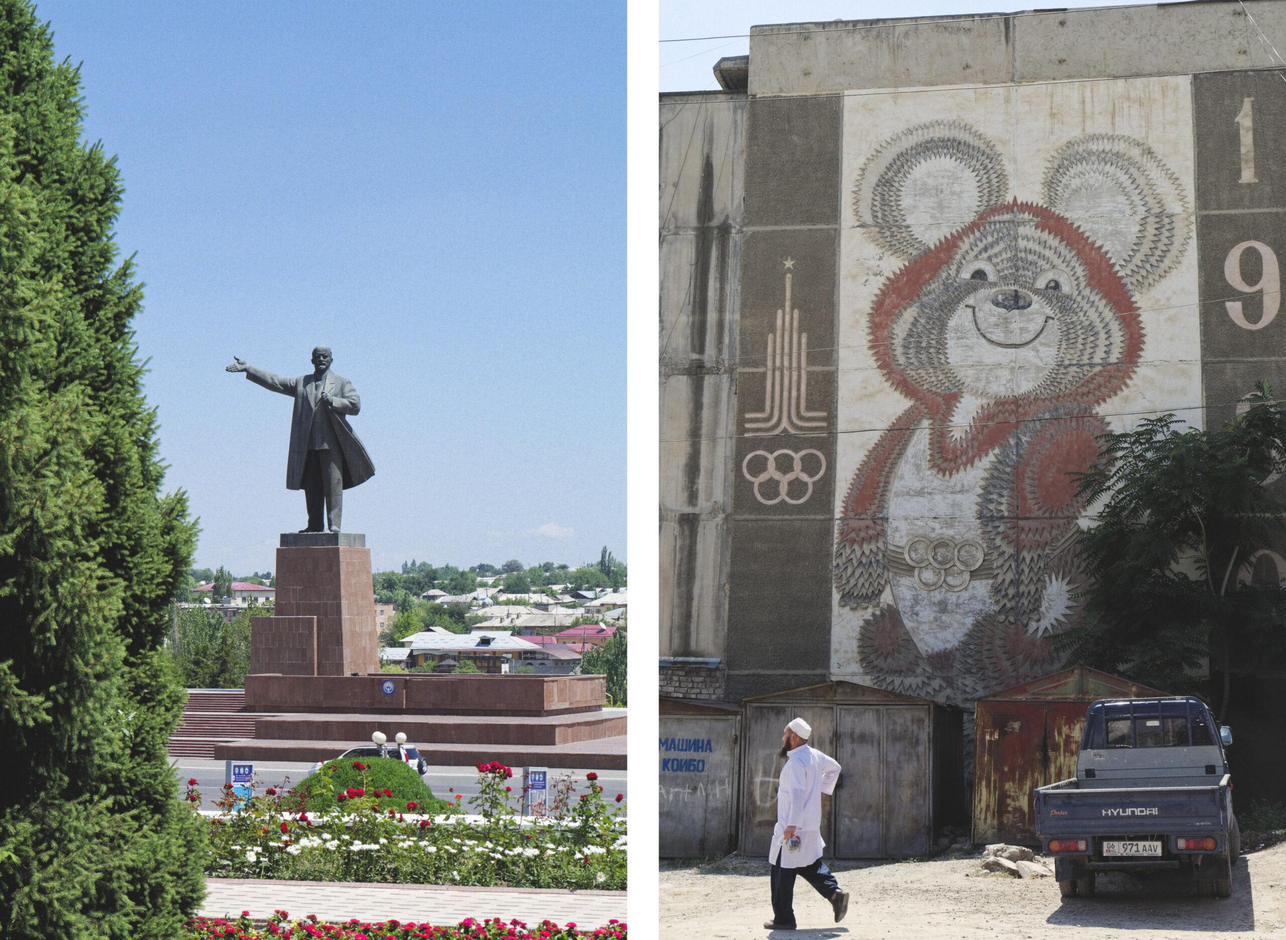 Statue de Lénine et mosaïques dans les rues de Och, Kirghizstan