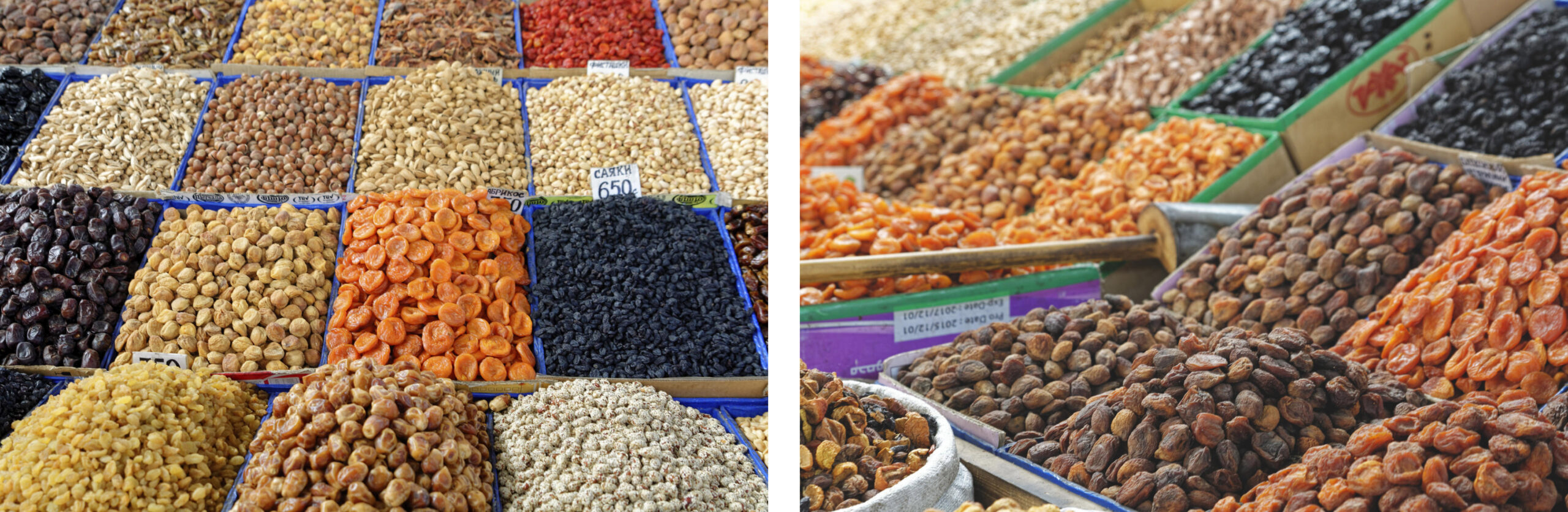Fruits secs au bazar d'Och Kirghizstan