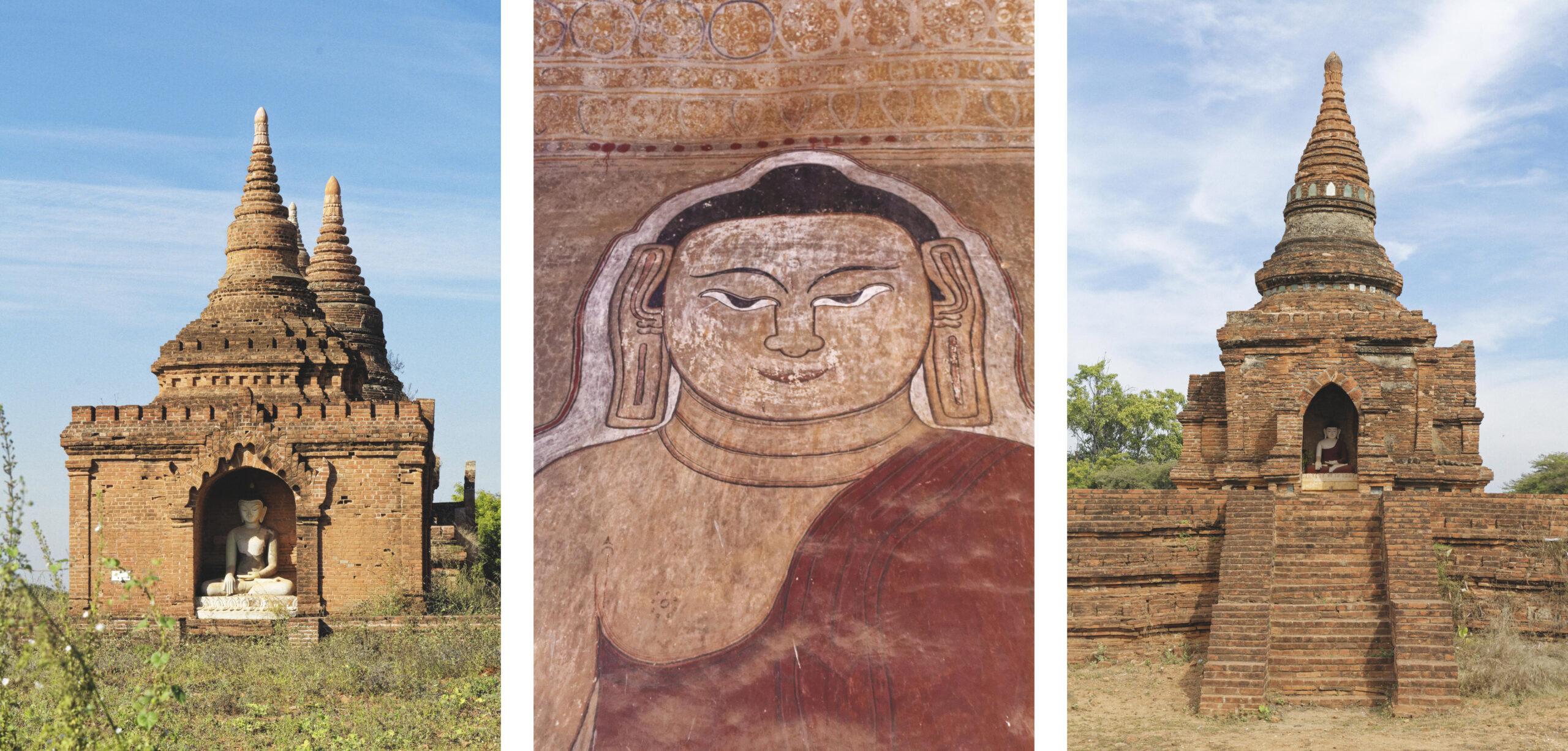Statues et peinture représentant Bouddha Bagan
