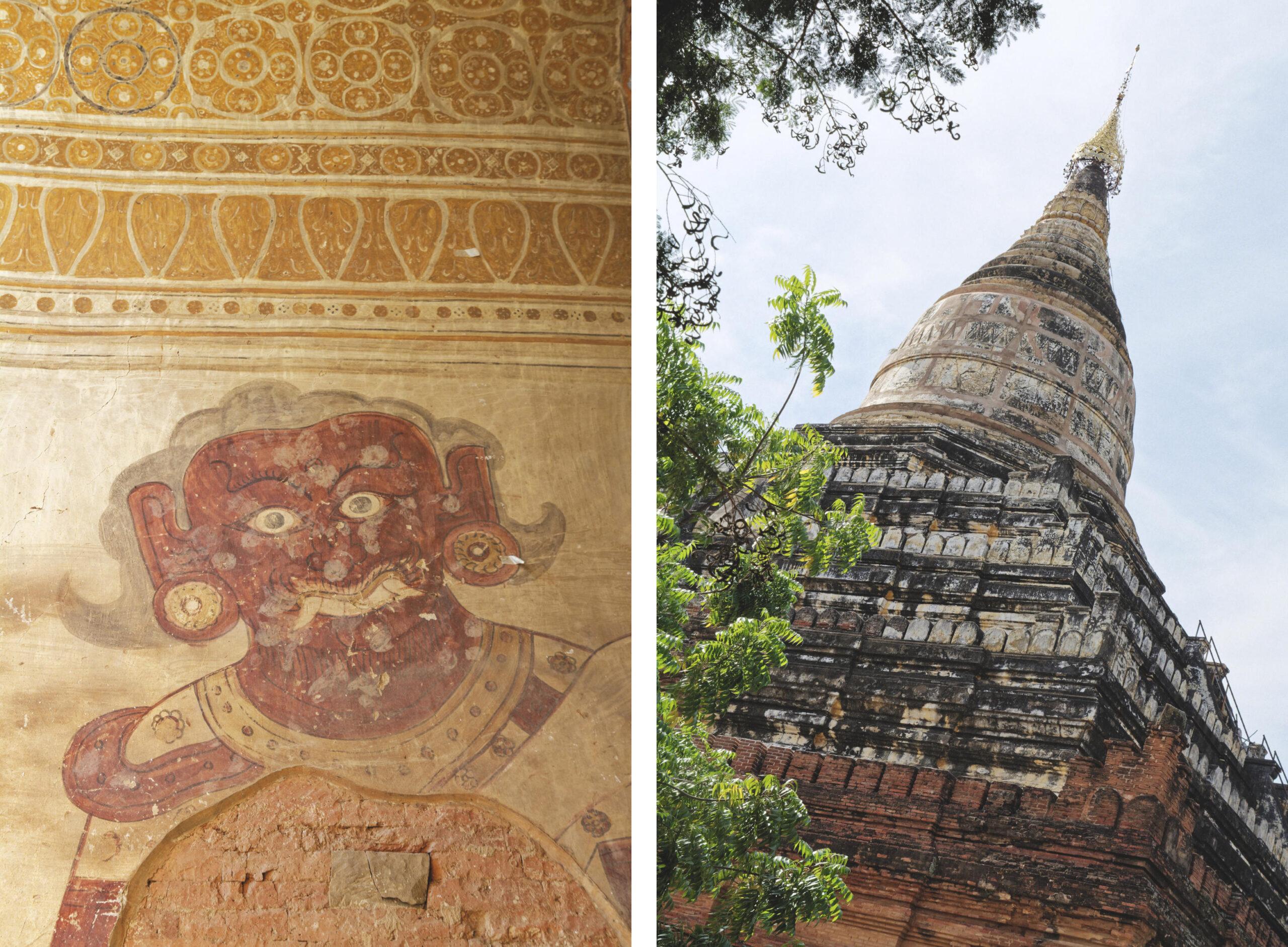 Peinture et pagode Bagan