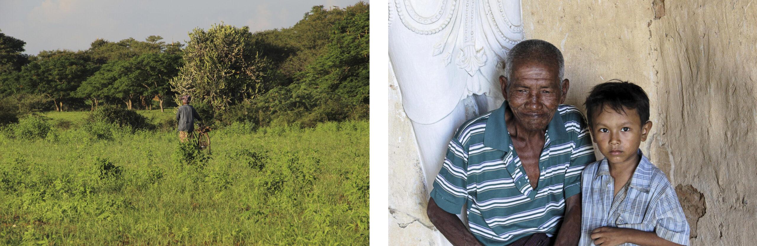 Personne poussant un vélo et grand-père avec son petit-fils à Bagan