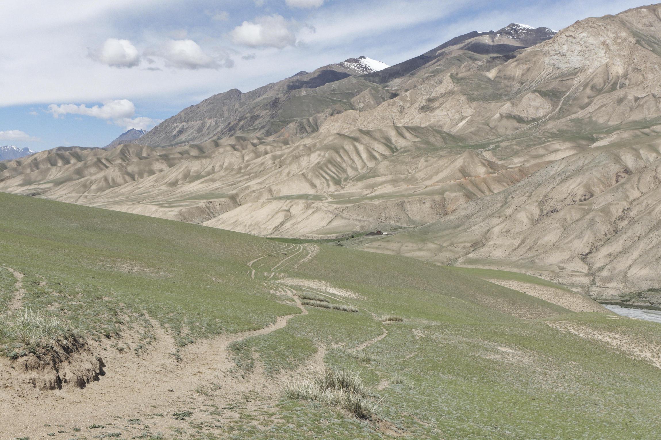 Piste au pied des montagnes vallée de Kaindy Kirghizstan