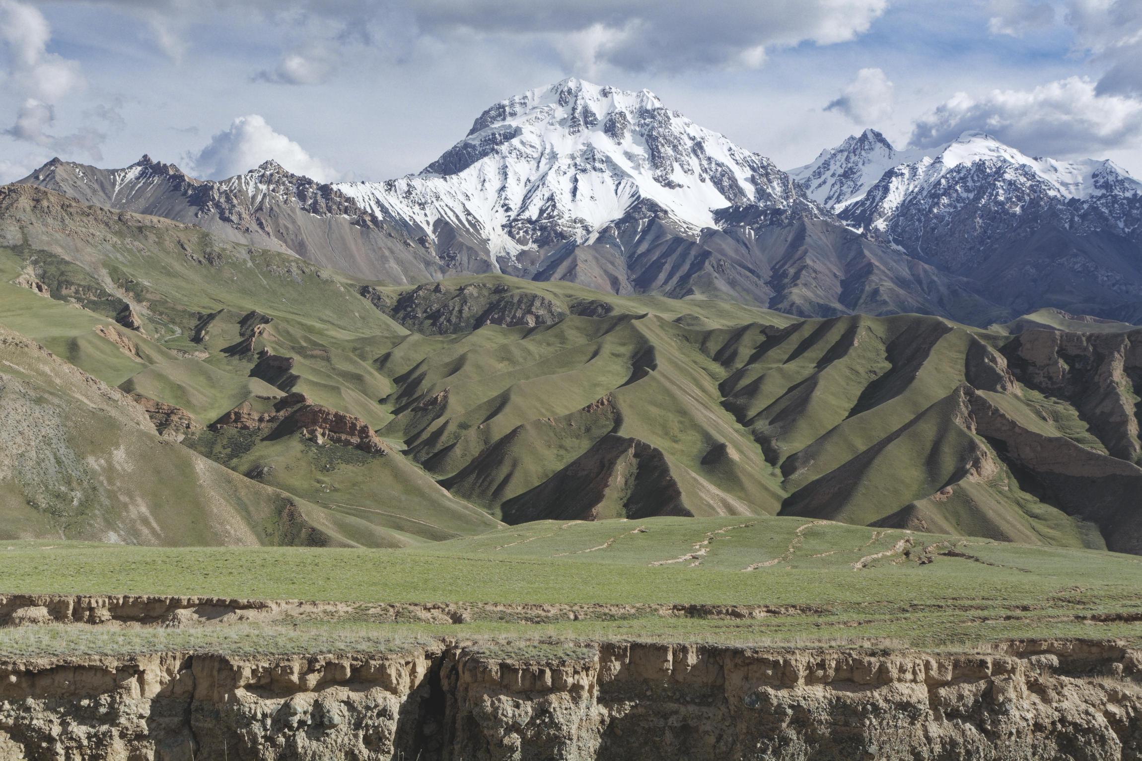 Glacier et vallées plissées Kaindy Kirghizstan