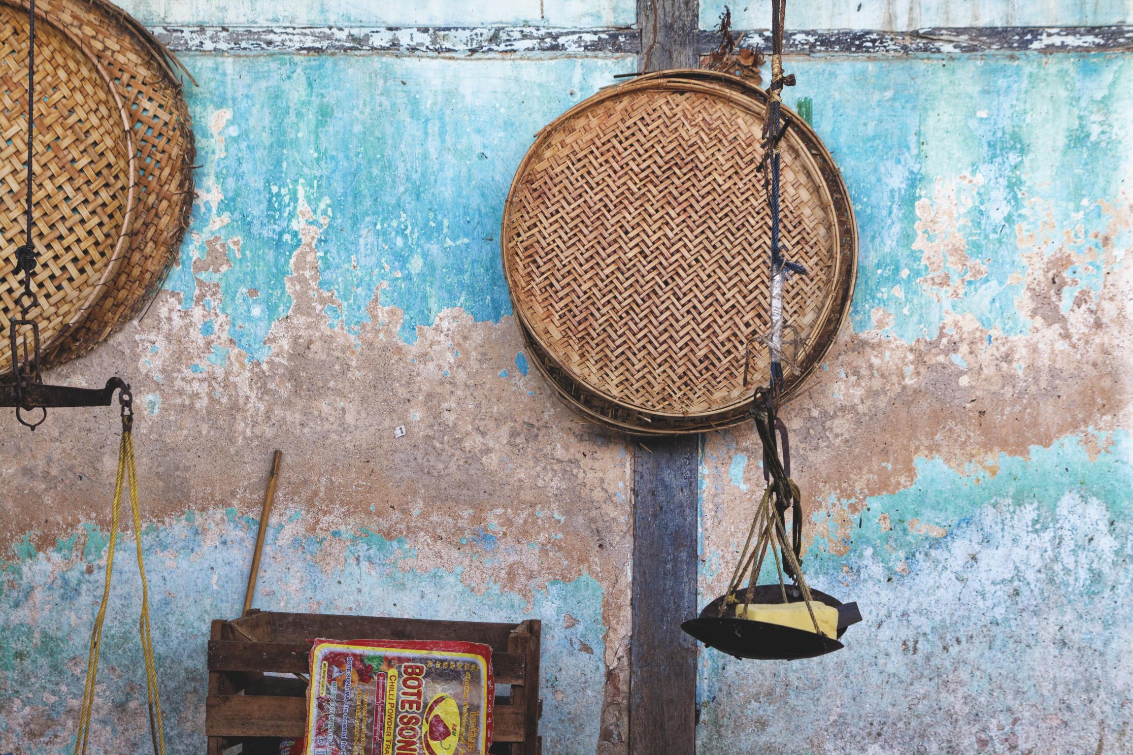 Paniers marché de Nyaung U