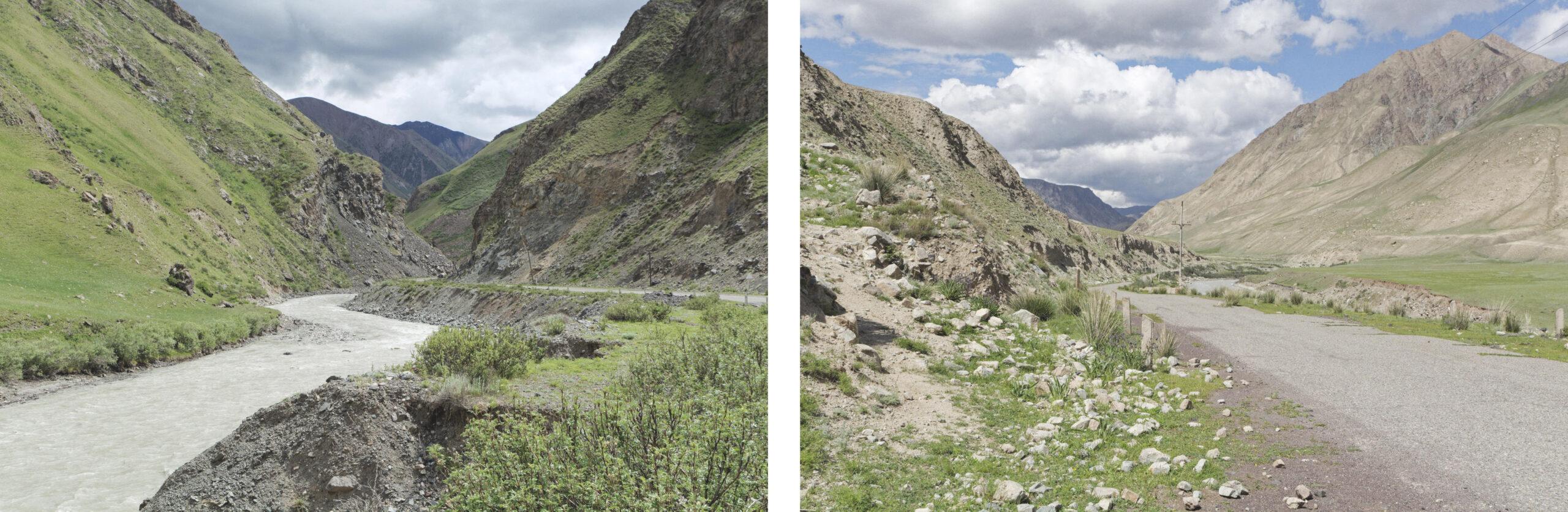 Rivière et route Inylchek Kirghizstan