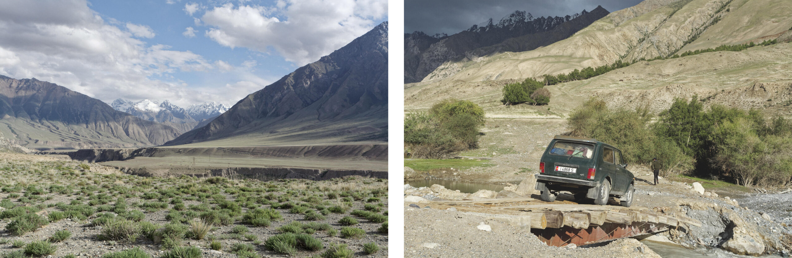 Paysage de montagne et lada niva sur un pont région d'Inylchek Kirghizstan
