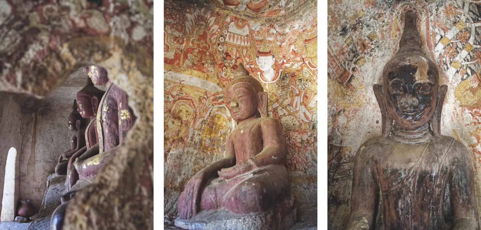 Po Win Taung : sculptures du Bouddha