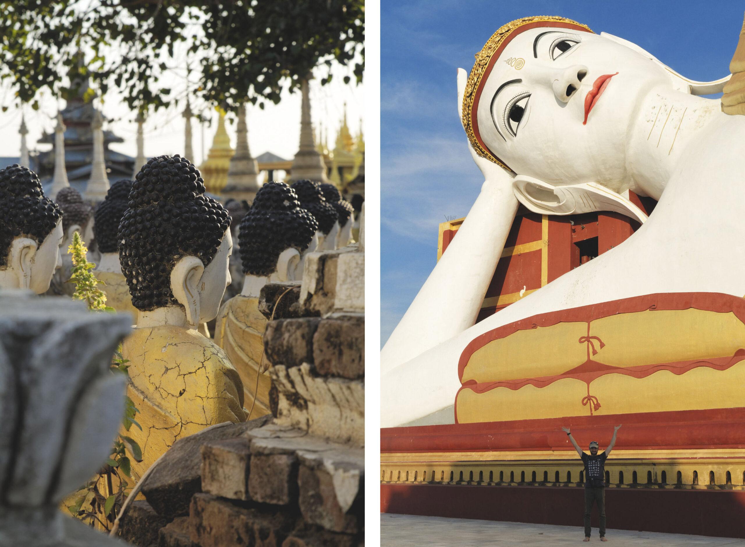 Bodhi Tataung : rangées de bouddhas et bouddha couché géant