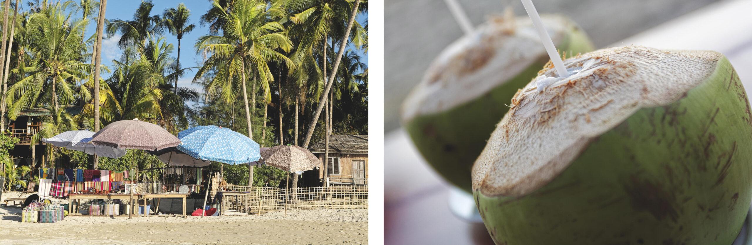 Parasols et noix de coco